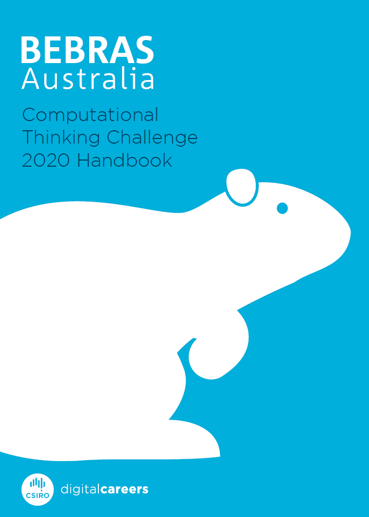 Front cover image of the 2020 Bebras Challenge handbook